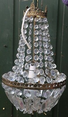 Fancy Old Ceiling Light Fitting Chandelier With Real Glass Droppers