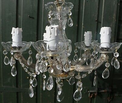 Very Nice 5 Branch Ceiling Light Chandelier With Real Glass Droppers    (2