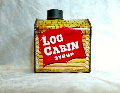 Antique Towel's Cabin Bank Maple Syrup Tin Litho Maple Syrup Can Vintage Bank