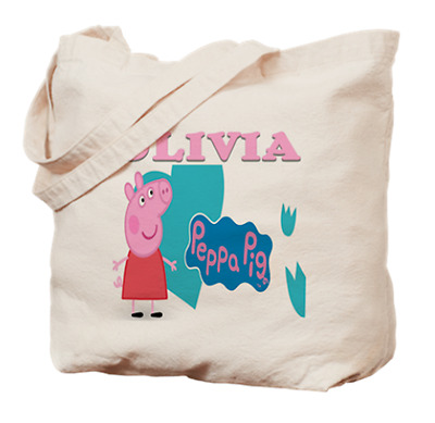 Peppa Pig Tote Bag Book Dance Personalized Name Girls Childs Gift Fan Shield