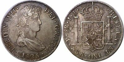 1825 PTS JL Bolivia 8 Reales Silver Ferdinand VII KM# 84 Extra Fine