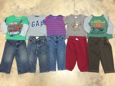 Baby boys Jeans Shirts Pants Pj's Gap Polo Old Navy Fall Winter Lot 18-24 Months