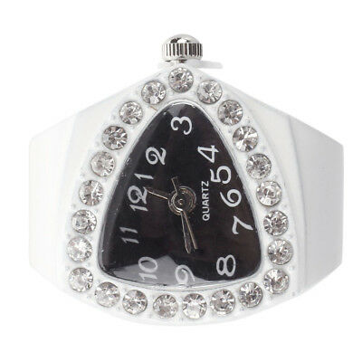 White Stretchy Rhinestone Finger Ring Time Watch 21mm HOT S4Q4
