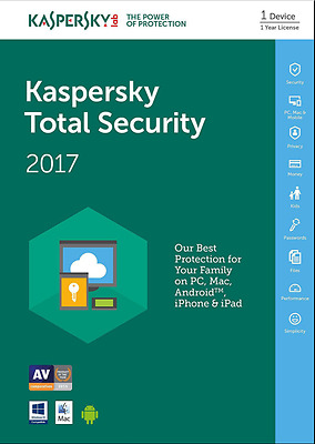 Kaspersky Total Security 2017 Multi Device 1PC / 1 Year License Download,No CD