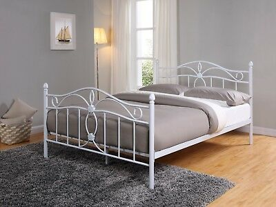 White Metal Bed Frame Double King Size Mattress and High Footend NEW 4FT6 5FT