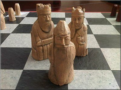 Isle of Lewis Chess Set with unusual Toothy Berserkers and Two Extra Queens