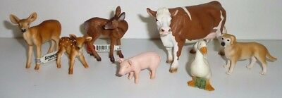Schleich Germany Deer Cow Pig Dog Goose Farm Wild Animal Lot DISCONTINUED
