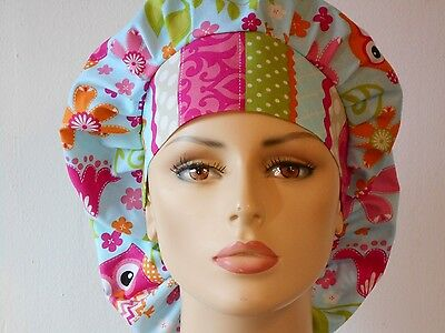 Scrub Hat Colorful Owls all Over wit a Striped Headband Womens Bouffant Hat USA