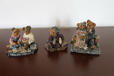 3 Boyds Bears & Friends Bearstone Collection Resin Figurines