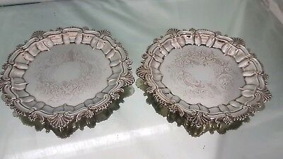 matching pair of beautiful antique silver plated wine bottle coasters