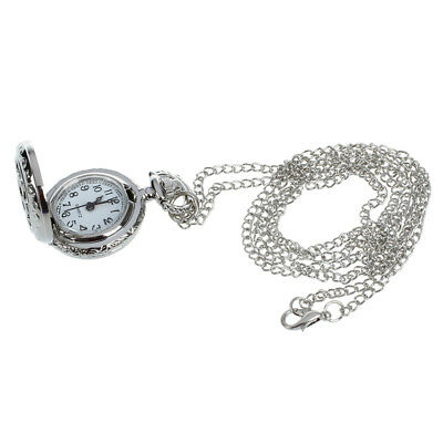 New Durable Ladies Cut out Flower Pattern Hunter Case Necklace Watch Silver Y8X7