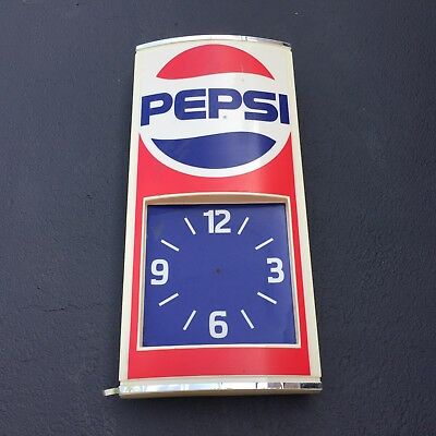 Vintage Pepsi cola 1970's Light up Advertising Plastic Wall Clock shell only