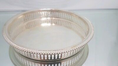 A very elegant vintage silver plated gallery tray with decorated patterns.