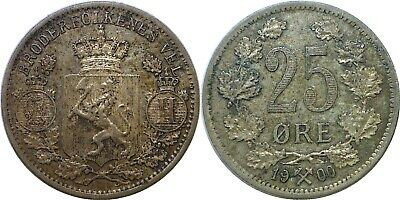 1900 Norway 25 Ore Silver KM# 360 Almost Uncirculated Details