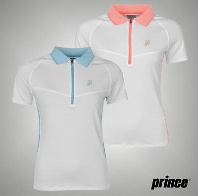 Ladies Branded Prince Breathable Stretchy Half Zip Tech Tennis Shirt Size 8-16