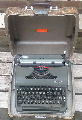 Vintage Olympia Typewriter - Military Green - West Germany - Case  Sm2 / Sm3?