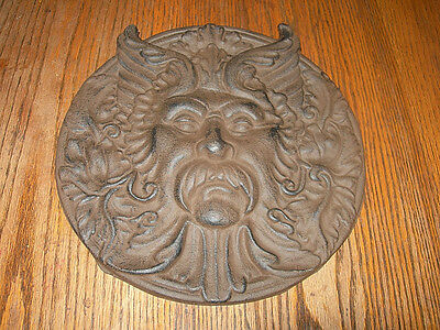 Solid Cast Iron Round Man Face Plaque Ancient Greece Statement Wall Home Decor