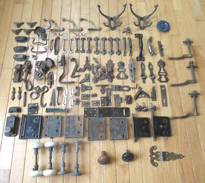 Antique Vintage Architectural Salvage Lot of Door, Cabinet, Window, Locks & More