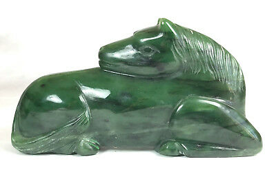 "Chinese Spinach Green Jade Horse Carving 6"" Carved Stone Asian Antique"