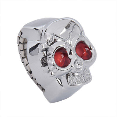 New Practical Red Eyes Skull Design Stretchy Band Quartz Ring Watch for Lad B5G5