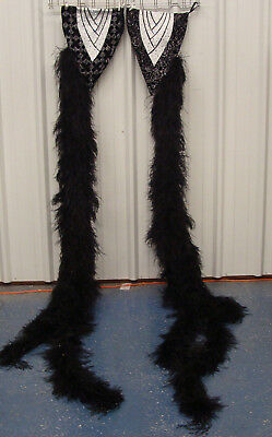 Black Ostrich Feathers boa Armbands Showgirl Burlesque Costume**FREE SHIPPING!!