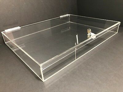 Acrylic Rectangular Countertop Display Case Lock Box 24 X 18 3