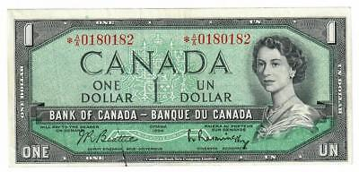 1954 Bank Of Canada Banque Du Canada $1 One Dollar Star Repeater Note