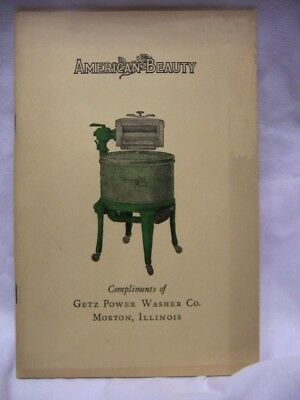 1929 American Beauty Getz Power Clothes Washer Laundry Tips Book Art Deco