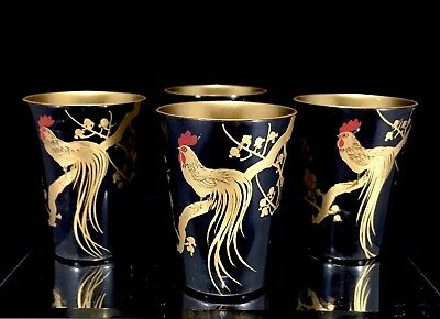 Set Of 4 Vintage MCM Japanese Lacquer Sake Cups Gold Rooster Mid Century Modern