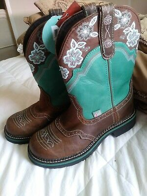 Justin Gypsy Boots Sz 9 Turquoise Flowers/Tan