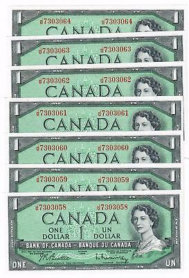 (7) 1954 Bank Of Canada Consecutive Serial Numbers One Dollar $1 Notes Cu
