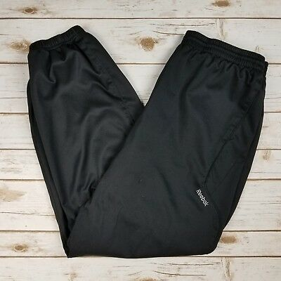 Reebok Black Athletic Lined Running Track Joggers Pants Men's Size L