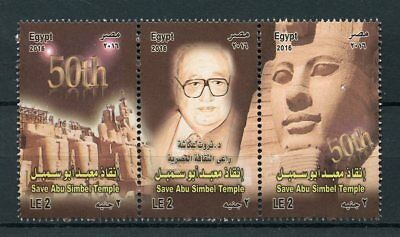 Egypt 2016 MNH Save Abu Simble Temple 3v Strip Temples Architecture Stamps