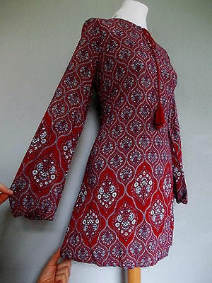 Vintage 60's 70's Style Size 14 Mod Psych INDIAN Hippy AUTUMNAL Tunic Dress 14
