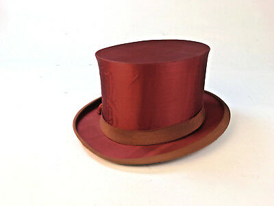 Antique Collapsible Red Silk Satin Top Hat Magic Vintage