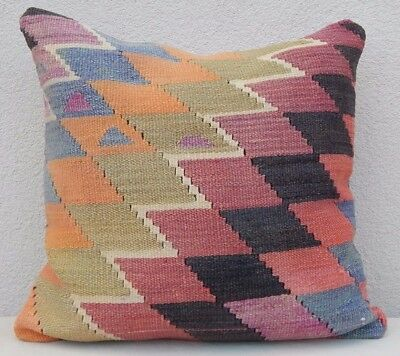 20'' X 20'' Vintage Handwoven Diamond Pattern Unique Pale Kilim Rug Pillow Cover