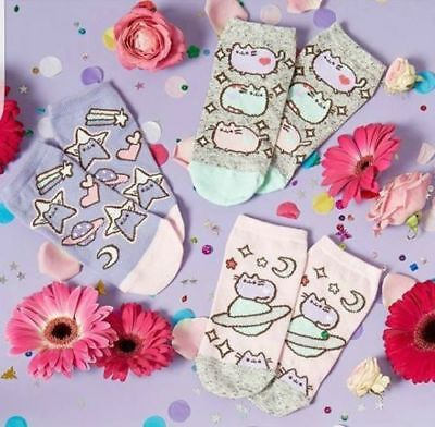 PUSHEEN THE CAT SPACE Ladies Socks Ankle Trainer Shoe Liners Primark Womens