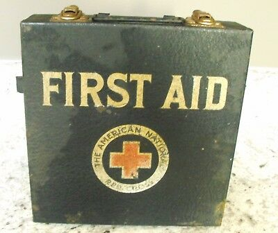 Vtg American National Red Cross First Aid Kit Metal Box With Contents Rare