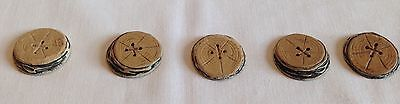 Rare Unique Set Of 5 Antique & Vintage Buttons, They Look Like Birch Wood