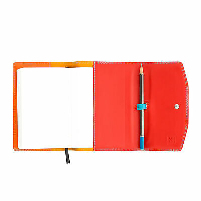 DUDU Leather Organiser A6 with Block and Pencil included with Button closure Bla
