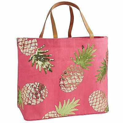 Mud Pie 8613286P Sequin Tropical Dazzle Jute Tote Beach Bag Pineapple,Pink