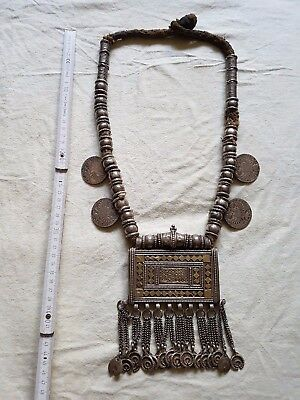 Large Antique Yemenite Silver Necklace Islamic 19th C. Yemen tribal 800 gr.