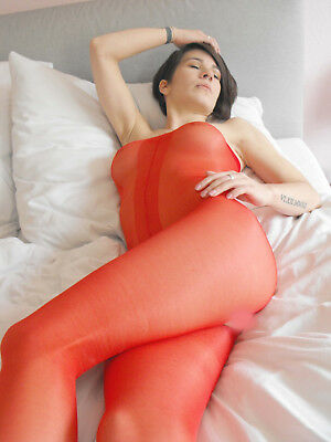 Body Bodystocking offen Pantyhose RED ROT transparent unisex glänzend one size