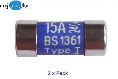 2 x New 15 Amp Mains Consumer Unit Replacement Fuses BS1361