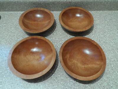 Vintage 60s/70s Baribocraft 4 Piece Wood Bowl Set Made In Canada Free Shipping!