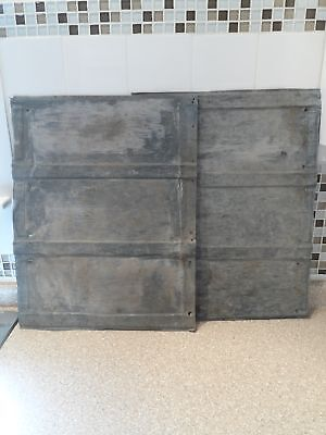 "5 Vintage Tri-Panel Tin Roofing Shingles/Sheets 22.75"" x 16.5"" Tin-Roof-Rusty!"