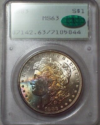 1883 PCGS MS 63 CAC STICKER SILVER Morgan Dollar Old Green Holder RAINBOW OGH