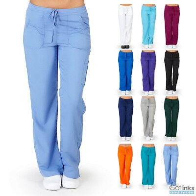 Womens Junior Fit Ultrasoft Cargo Elastic Scrub Pants Nursing Hospital Uniform