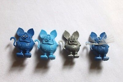 Lot of 4 Vintage 1960s Rat Fink Charms Gray Blues Whiskers Gum-Ball Vending Toy