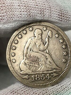 1854-P 25C Seated Liberty Quarter with Arrows